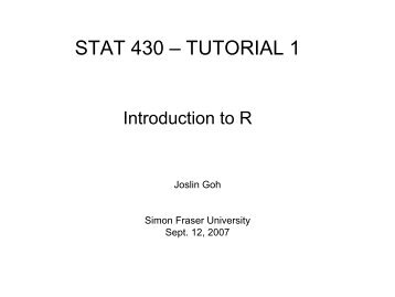 Brief Introduction to R - People.stat.sfu.ca - Simon Fraser University