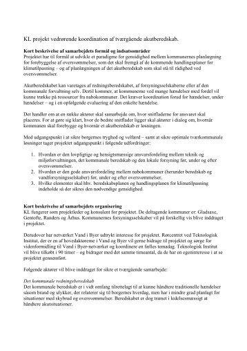 KL projekt vedrørende koordination af tværgående ... - Klimatilpasning