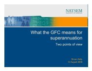 What the GFC means for superannuation - NATSEM