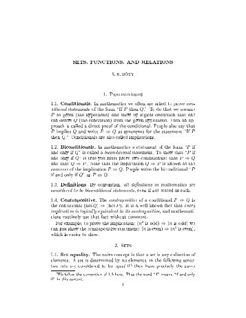 SETS, FUNCTIONS, AND RELATIONS S. R. DOTY 1. Preliminaries ...