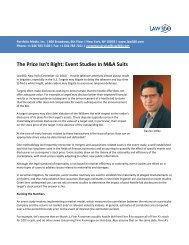 The Price Isn't Right: Event Studies In M&A Suits - Analysis Group
