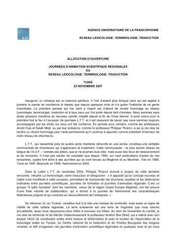 Allocution du coordonnateur - Lexicologie, terminologie, traduction ...