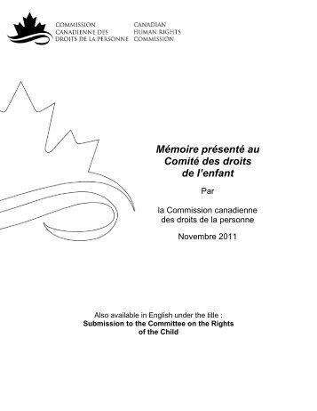 Mémoire présenté au Comité des droits de l'enfant - Commission ...