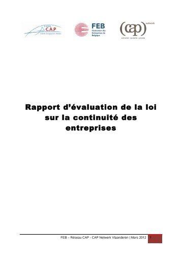 Rapport d'évaluation de la loi sur la continuité des entreprises - Juridat