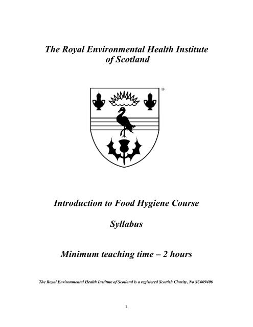 Introduction To Food Hygiene Syllabuspdf The Royal