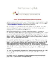 Funded PhD Studentship in Evidence Synthesis ... - University of York