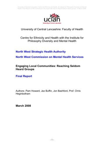 North West Commission for Review of mental ... - NHS North West
