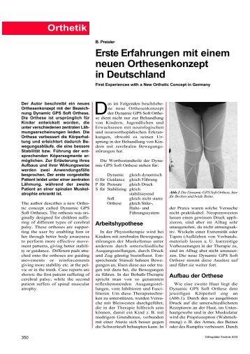 Erste Erfahrungen mit einem neuen Orthesenkonzept in Deutschland