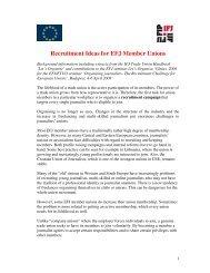 Recruitment Ideas for EFJ Member Unions - Europe