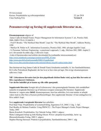 Pensumoversigt og forslag til supplerende litteratur ... - IT-Universitetet