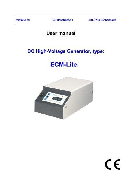DC High-Voltage Generator, type: ECM-Lite - relstatic ag