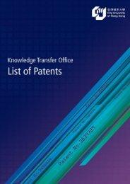 List of Patents - City University of Hong Kong