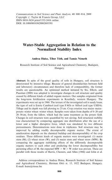 Water-Stable Aggregation in Relation to the Normalized Stability Index