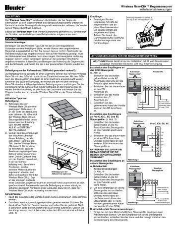 Wireless Rain-Clik™ Regensensoren ... - Hunter Industries