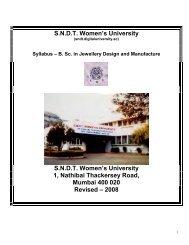 B. Sc. in Jewellery Design and Manufacture - Shreemati Nathibai ...