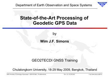 State-of-the-Art Processing of Geodetic GPS Data