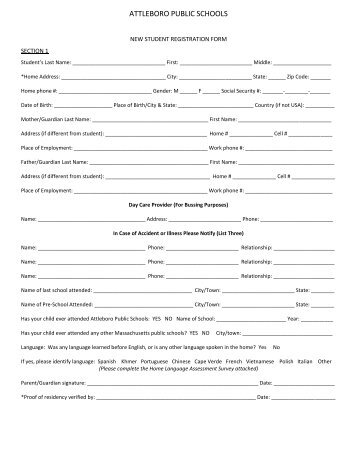 New Student Registration Form - Attleboro Public Schools