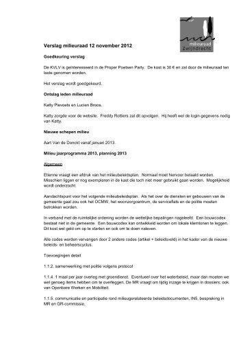 Verslag milieuraad 12 november 2012-defx - Gemeente Zwijndrecht