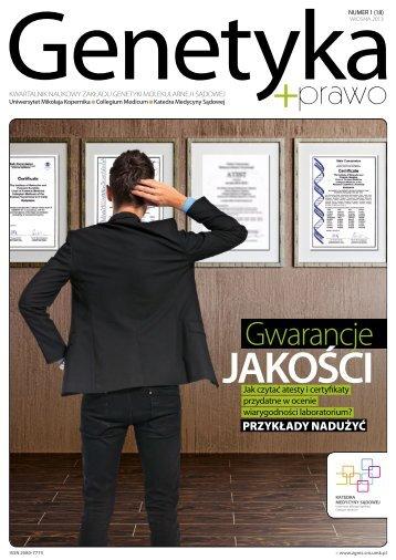 Wiosna 2013 - Zakład Genetyki Molekularnej i Sądowej ...