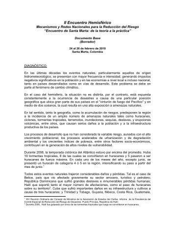 encuentro hemisfrico - Red Interamericana de Mitigación de Desastres