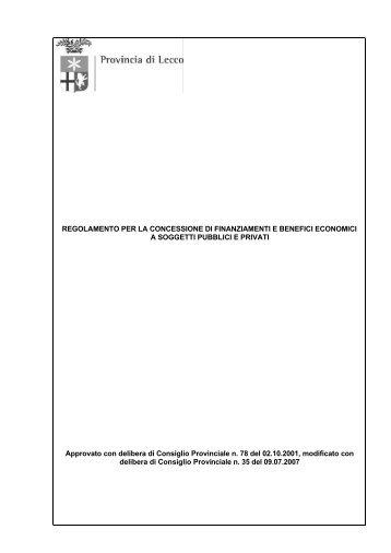 Regolamento per la concessione di finanziamenti e benefici ...