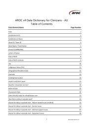 AROC v4 Data Dictionary for Clinicians - Australian Health Services ...