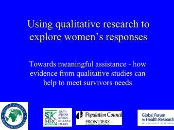 Using qualitative research to explore women's responses