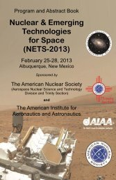 NETS 2013 program - Aerospace Nuclear Science and Technology ...