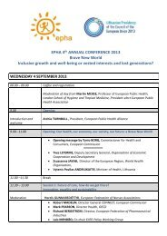 Conference agenda - European Public Health Alliance