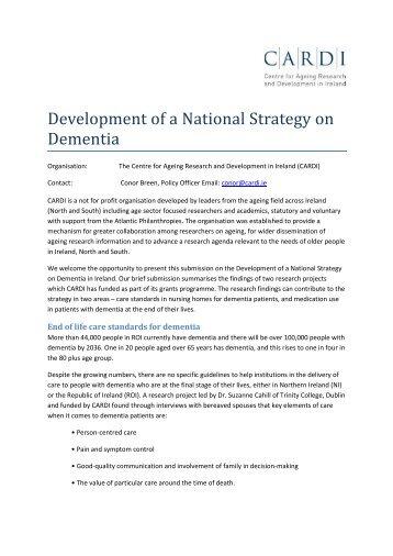 Development of a National Strategy on Dementia - CARDI