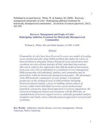 Recovery Management and Communities of Color: - William L. White