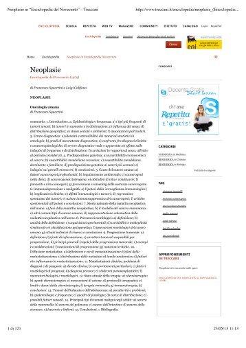 """Neoplasie in """"Enciclopedia del Novecento"""" – Treccani - Omero"""