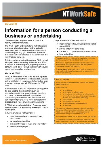 Information for a person conducting a business or ... - NT WorkSafe