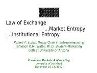 Law of Exchange …Market Entropy …Institutional Entropy