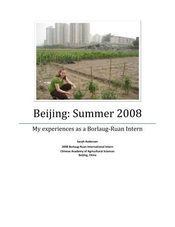 Beijing: Summer 2008 - The World Food Prize