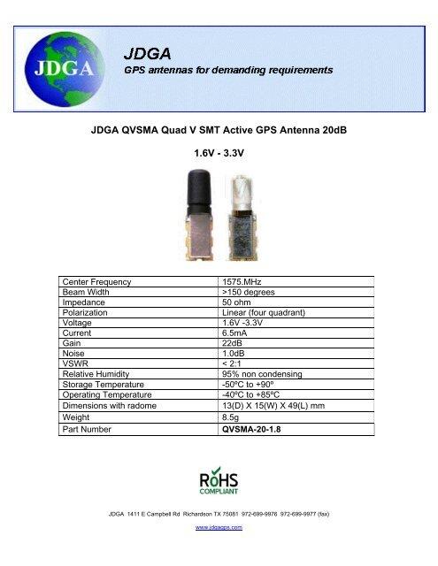 JDGA QVSMA-20-18 Active Omnidirectional GPS Antenna