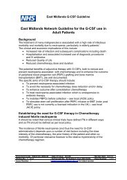 East Midlands Network Guideline for the G-CSF use in Adult Patients