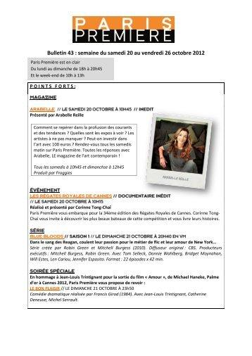Bulletin 43 : semaine du samedi 20 au vendredi 26 octobre 2012