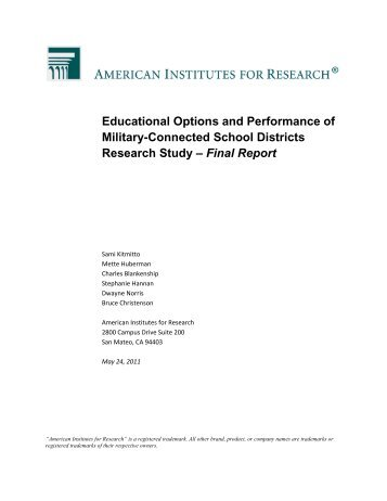 Educational Options and Performance of Military-Connected School ...