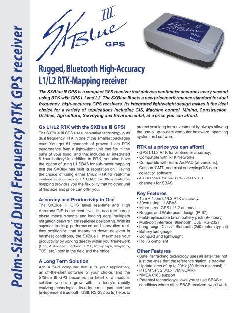 Palm -Sized Dual Frequency RTK GPS receiver - SXBlue GPS Series