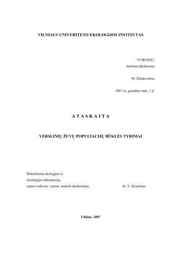 2007 metų tyrimų rezultatų analizės ataskaita - Aplinkos apsaugos ...