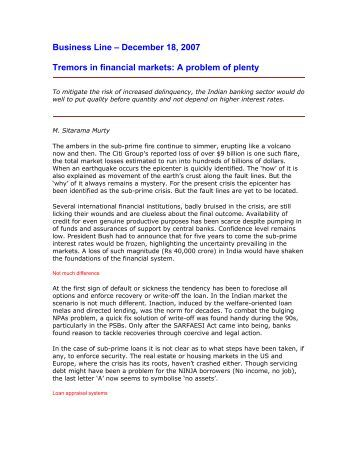 Tremors in Financial Markets - A Problem of Plenty.pdf - CAB