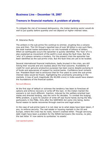 Tremors in Financial Markets - A Problem of Plenty.pdf - CAB