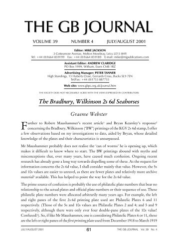 Volume 39 Number 4 - Great Britain Philatelic Society