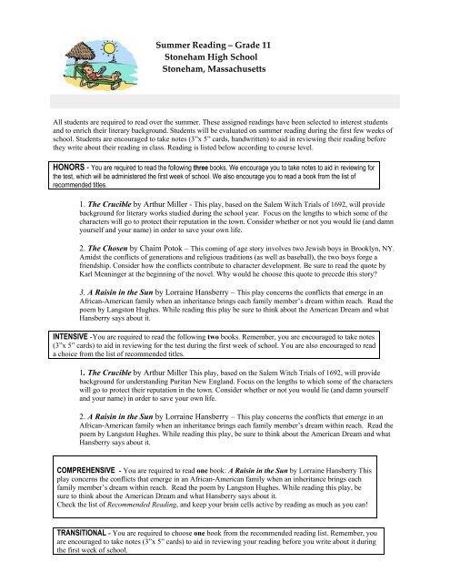 "summer reading ae"" grade stoneham high school stoneham"