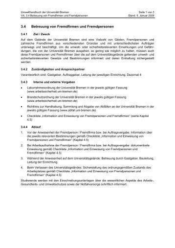 3.4 Betreuung von Fremdfirmen und Fremdpersonen - Ums Uni ...