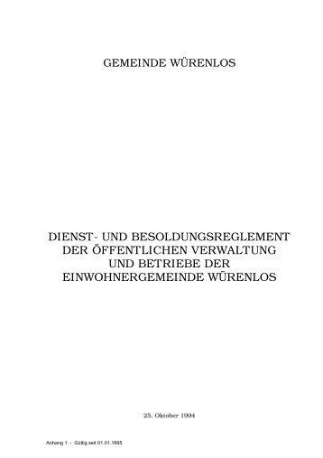dienst- und besoldungsreglement der öffentlichen verwaltung und ...
