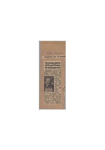 1954-11-19 Förnämlig plakett till GW för hembygdsvård
