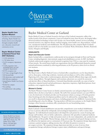 Baylor Medical Center at Garland 2008 Fact Sheets - Baylor Health ...