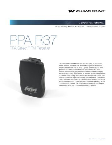 PPA R37 Specifications - Williams Sound